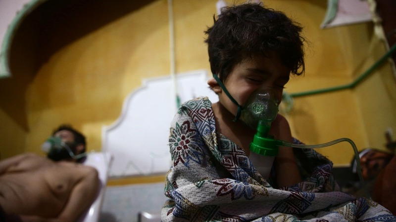 Suspected chlorine gas attack strikes near Damascus