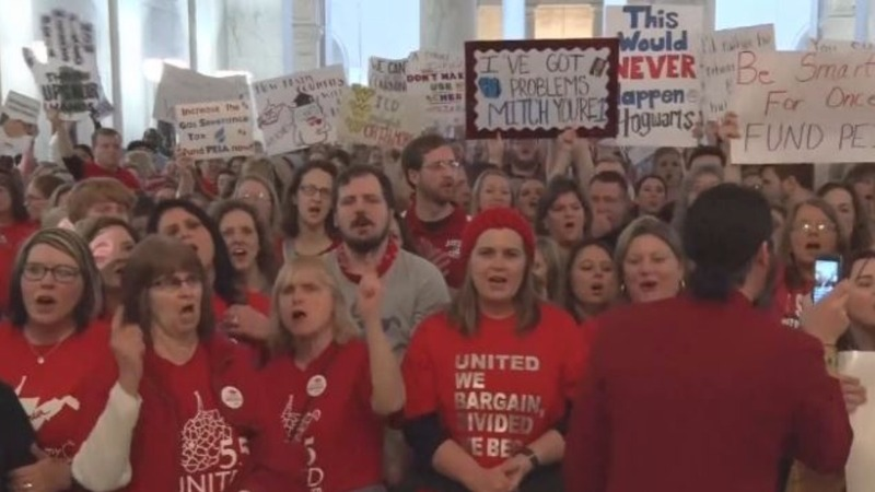 West Virginia teachers strike for 8th day