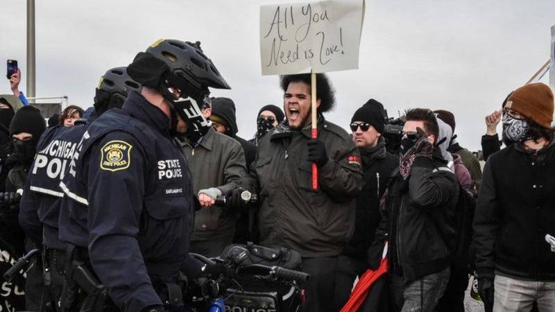 Fistfights on the road to a white nationalist speech