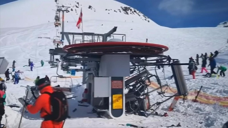 Skiers go flying after ski lift malfunctions