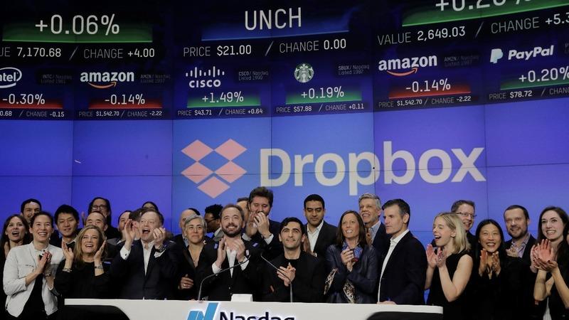 Dropbox soars in market debut