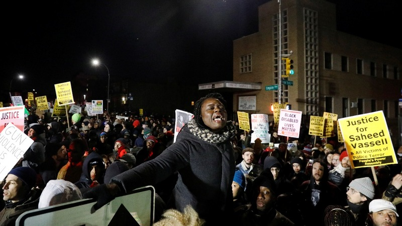 Hundreds protest in Brooklyn over police shooting