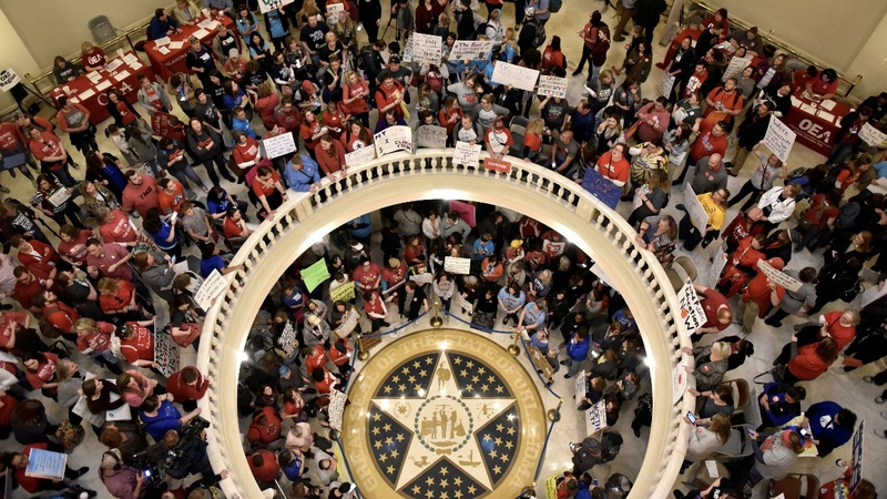 Oklahoma Senate considers measures to end a teachers strike