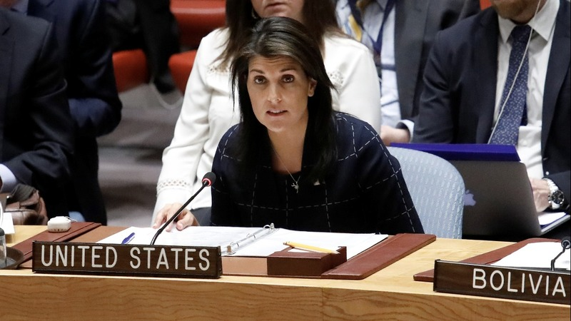 Haley pushes back after Russia sanctions delay