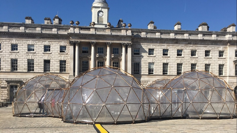 Suffocating 'pollution pods' shock visitors for Earth Day