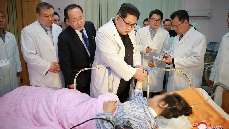 Kim Jong Un visits survivors of Chinese bus crash