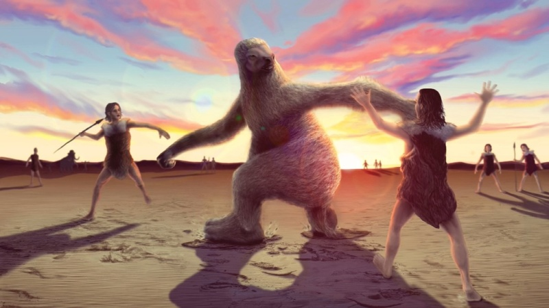 Man versus giant sloth: An ancient battle fossilized