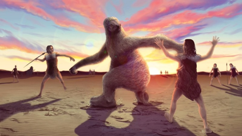 Man vs. giant sloth: An ancient battle fossilized
