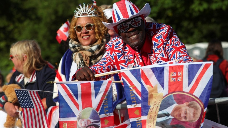 Crowds gather for glittering royal wedding