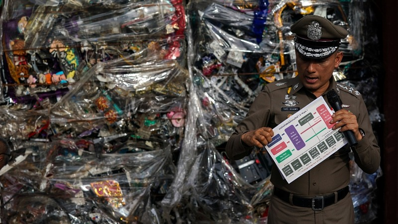 Thai police reveal tons of illegal 'e-waste'