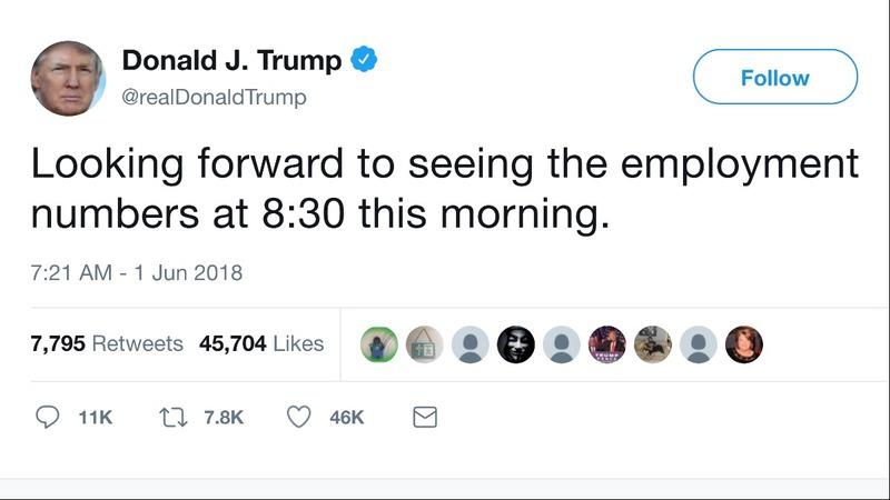 Trump's tweet overshadows a solid hiring spree