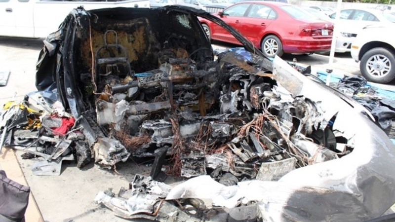 Tesla battery reignited twice after crash