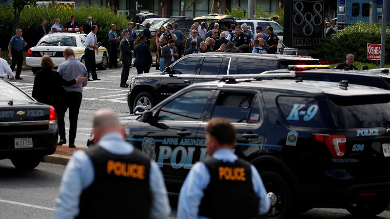 Gunman held after five killed in Maryland