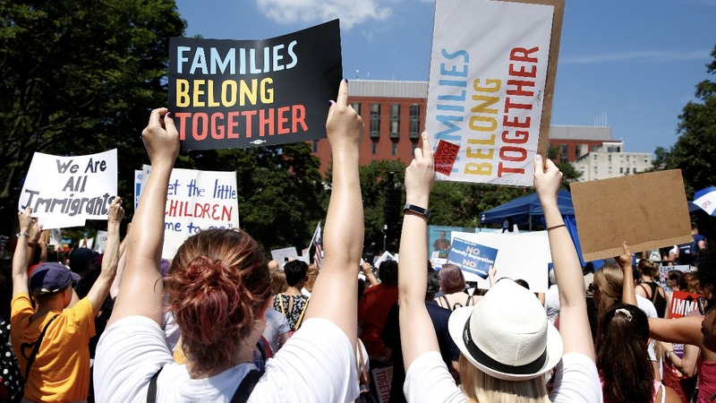 Protesters rally against Trump immigration policies