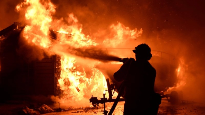 Homes reduced to rubble in California wildfire