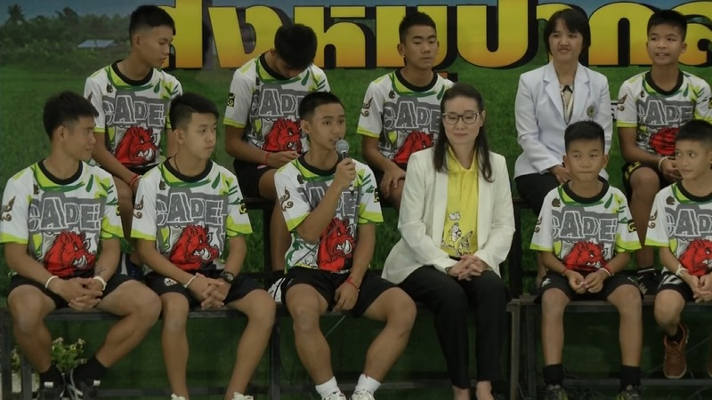 First public appearance for rescued Thai boys