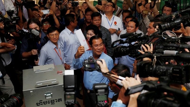 Cambodia's ruling party claims election victory