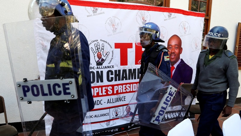 Zimbabwe police disrupt election news conference