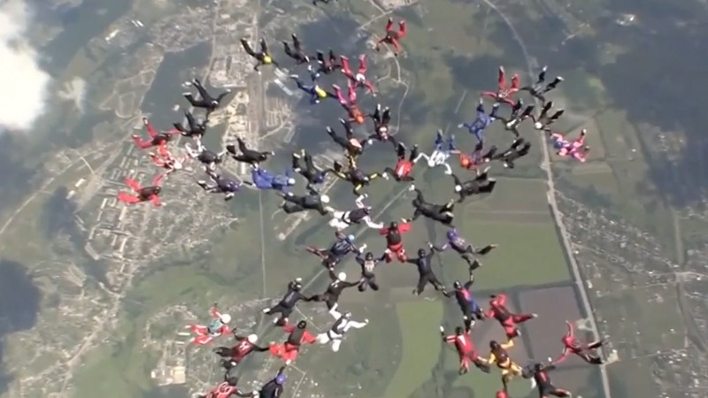INSIGHT: Female skydivers set world record above Ukraine