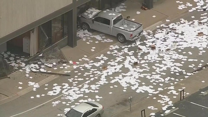 Man crashes truck into Texas TV station