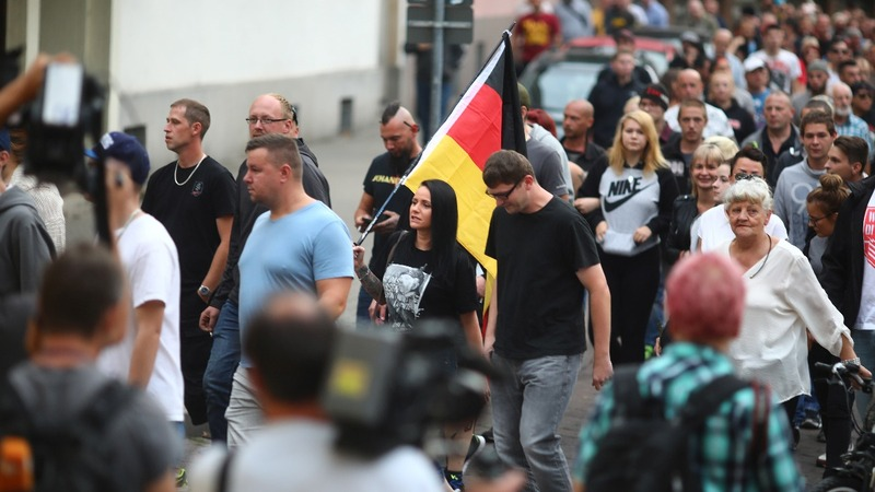 Right-wing protesters gather in east German town