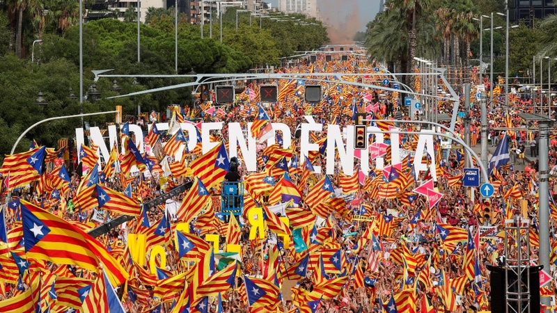 Vast protests back Catalan independence