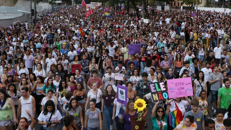Women lead rallies against Brazil's Bolsonaro