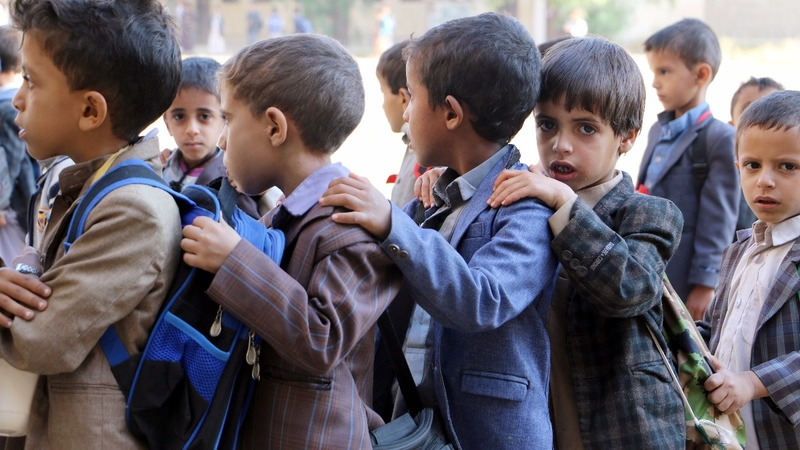 Yemen school bus strike survivors return to class