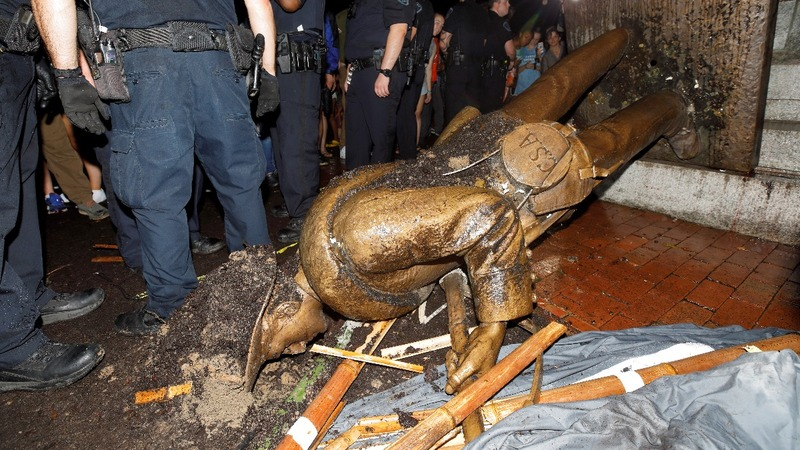 Uproar over plans to relocate toppled Confederate statue
