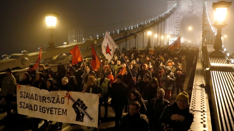 Thousands protest Hungary's 'slave law'