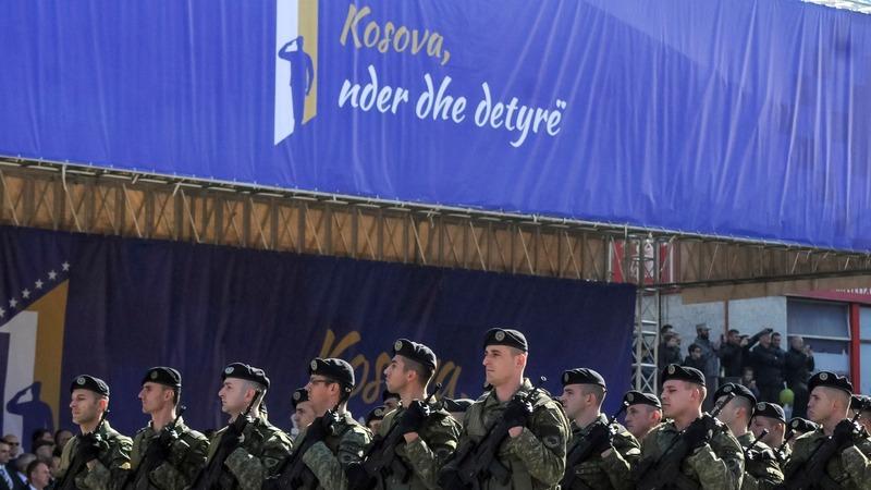 Kosovo's new army parades, Serbs disapprove