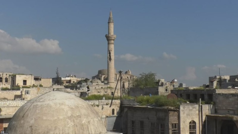 The shell-beaten minarets of Aleppo's Old City