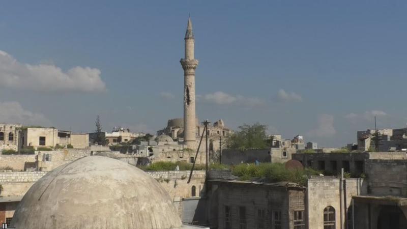 The shell-beaten minarets of Aleppo's Old City