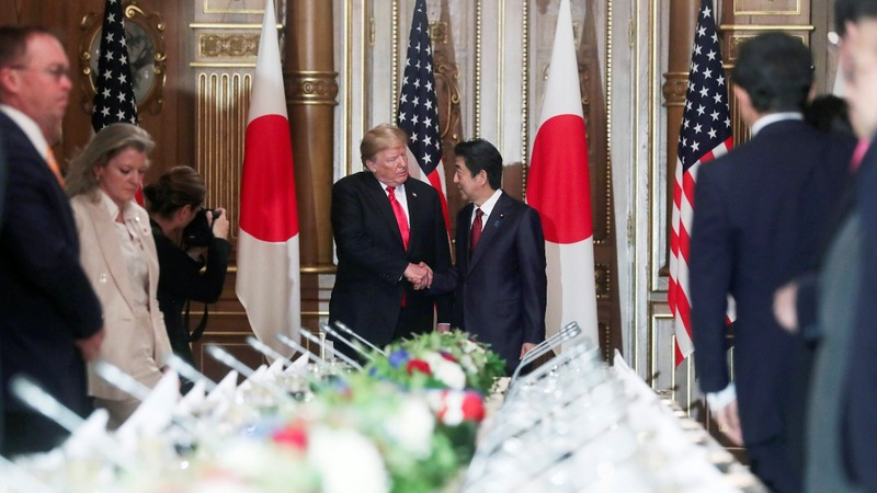 Trump talks space, trade and North Korea in Japan