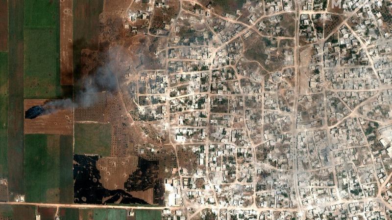 Satellite images show Idlib burning