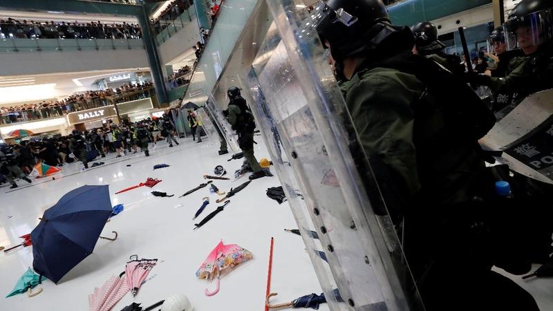"""Hong Kong leader calls protesters """"rioters"""""""