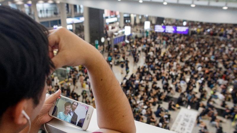 'Democracy now': Protesters at Hong Kong airport