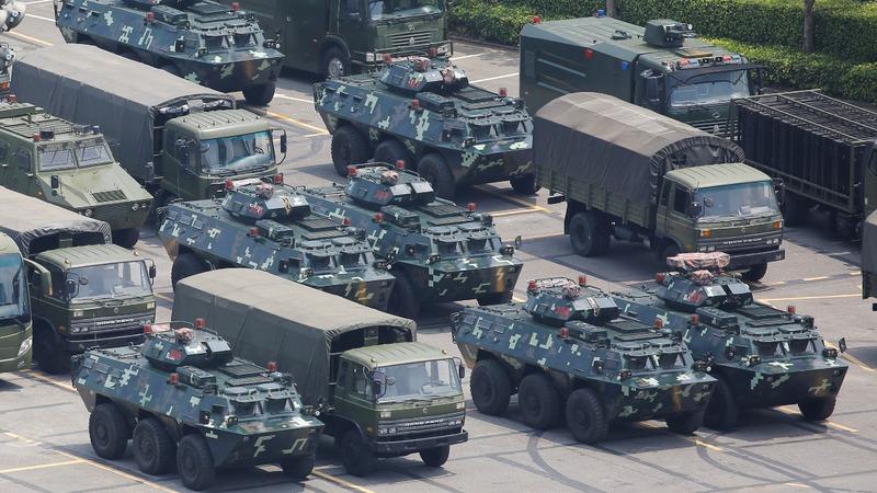 Chinese paramilitary are massing near Hong Kong
