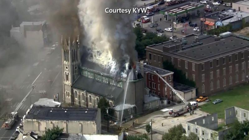 Fire destroys part of Philadelphia church