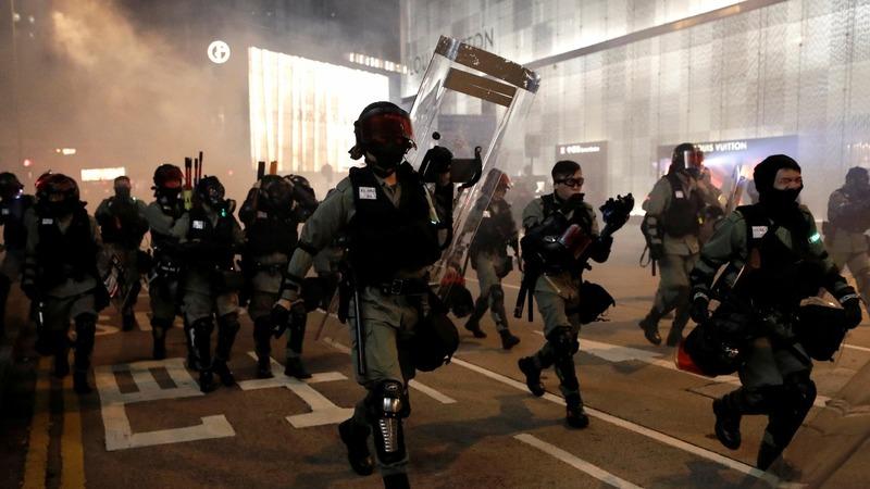 Hong Kong protests crash into Halloween