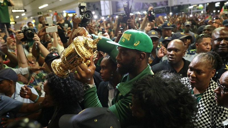 Springboks return home after Rugby cup triumph