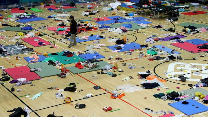 Protesters stay holed up on Hong Kong campus