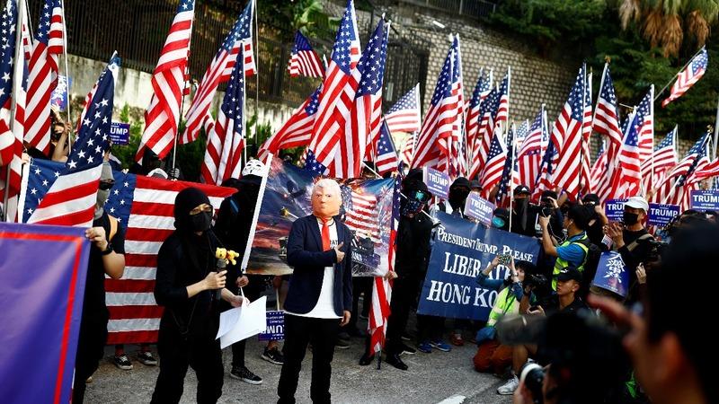 Rallies against tear gas, for Trump in Hong Kong