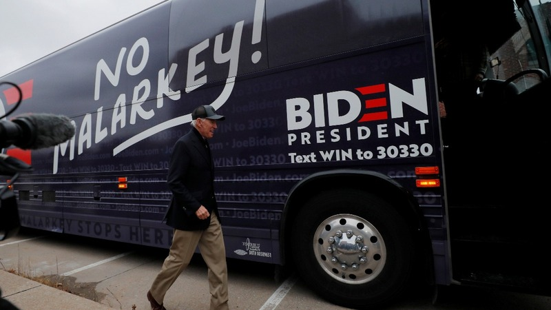 Biden to blitz Iowa by bus in 800-mile hunt for support